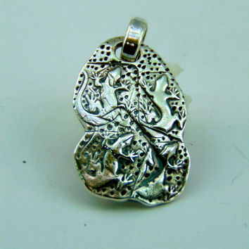 handmade 999 pure silver pendant Lizards animal reptile 925 silver jump ring art clay PMC man woman men women unisex pendant necklace