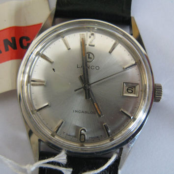 Vintage rare Lanco Swiss watch 700 17j Incabloc NIB with tags men's wristwatch - Gift for him