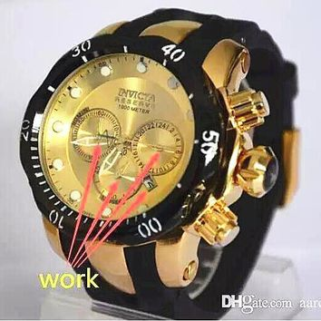 INVICTA LOGO rotating dial outdoor sports Men's watch Luxury brand Multifunction quartz watch