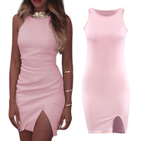 Fashion Womens Sexy Sleeveless Slit Evening Club Party Mini Dress Unique dress with a split up one side 1STL