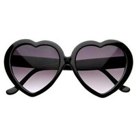 Lolita Heart-Shaped Sunglasses in Black