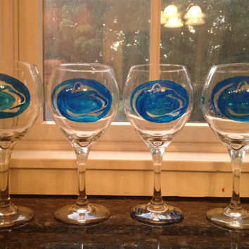 Hand-painted, Personalized Penn State Nittany Lion Wine Glass