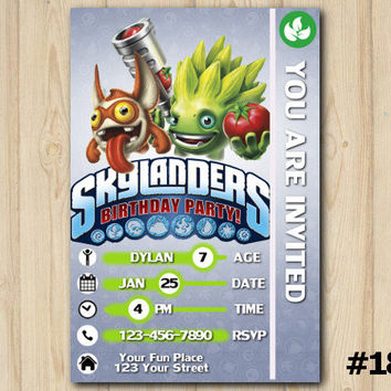 Skylanders invitation Trap Team Skylanders card birthday party custom printable file DIY(#184)