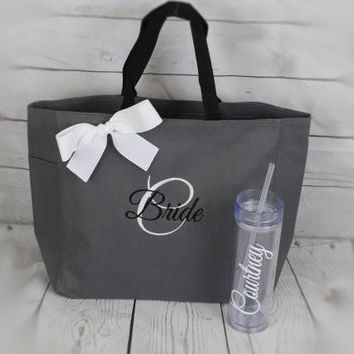 Bridesmaid Gifts Tote and Tumbler, Bridesmaids Gift, Wedding Tote and Tumbler Set, Personalized Tote and Tumbler, Bachelorette Party