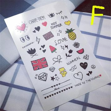 Limited Men Harajuku Foamposite Waterproof Temporary Tattoo Stickers Cute Pattern Cartoon Designs Styling Tool M Word Flag