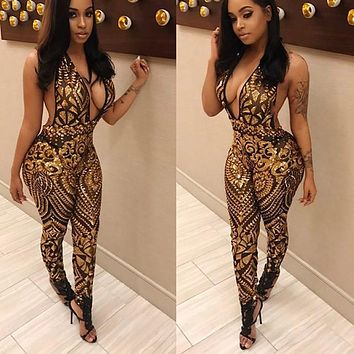 New arrive best quality 2017 deep v neck gold beading bodycon jumpsuit sexy sleeveless full length jumpsuit summer romper