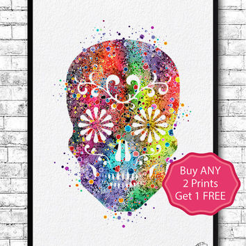 Sugar Skull Watercolor Print Skull llustrations Kid's Room Wall Poster Giclee Wall Decor Home Decor Wall Hanging Sugar Skull Poster