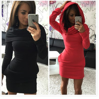 Women Winter Dress long Dresses Pencil Skirt hooded Blouse