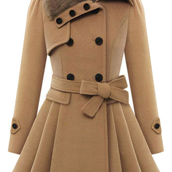 Fur Trim Collar Double Breasted Coat