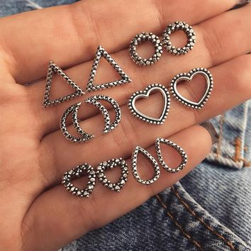 New Vintage Silver Color Stud Earring Set For Women Hollow Moon Love Triangle Geometric Stud Earring Set Punk Jewelery Gift