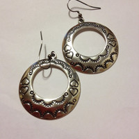 Navajo Sterling Earrings Anthony Klee Silver 925 Etched Handmade Hearts Symbols Vintage Tribal Southwestern Jewelry Gift