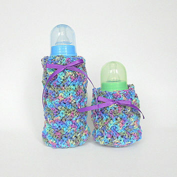 Baby Bottle Covers Cozy Set  Purple  Green Blue Yellow Cozies Newborn Girl Kozy Infant Boy Feeding  2 Two  Koozies Colorful