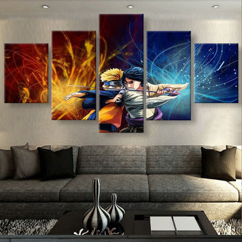 Naruto and Sasuke 5 Piece Canvas Set