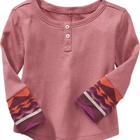 Old Navy Patterned Cuff Rib Knit Henley For Baby