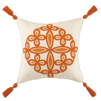 Orange- Desert Medallion Pillow by Trina Turk