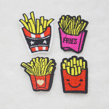 French fries Embroidery Iron on patch sewn For clothing applique backpack Motif AH38938