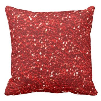 Sparkly Red Faux Glitter Texture Bling Throw Pillows