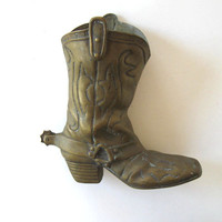 Large Solid Vintage Brass Cowboy Boot, Living and Home, Home decor, Mid Century Vase, gift for him
