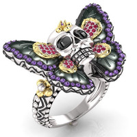 Skull Engagement Ring Butterfly