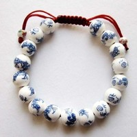 Hand Crafted Vintage Style Porcelain Dragon Beads Bracelet: Jewelry