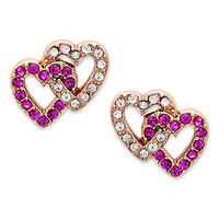 Juicy Couture Earrings, Rose Gold-Tone Pave Double Heart Stud Earrings - Fashion Earrings - Jewelry & Watches - Macy's