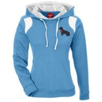 """My Heart"" Long Hair Dachshund Team 365 Ladies' Colorblock Poly Hoodie"