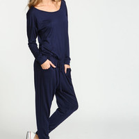 NAVY DRAWSTRING JERSEY KNIT JUMPSUIT