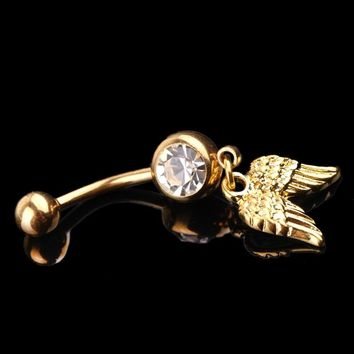Golden Dangle Wing Shaped Rhinestones Decoration Body Piercing Rhinestone Navel Belly Button Ring