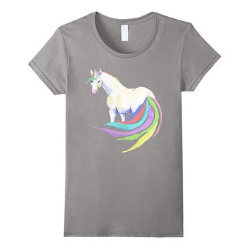 Unicorn with rainbow tail & mane - women's- girls- kids tee