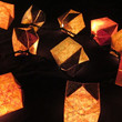 20 Origami Paper Cube Lantern Balloons With or Without Wings on Decorative Fairy String Lights - Nature Chiyogami Print