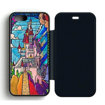 Beauty and the Beast Castle Leather Wallet Flip Case iPhone 5 | 5S