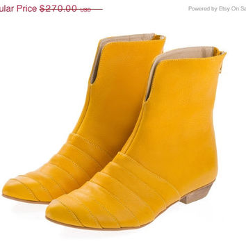 ON SALE Yellow boots, Leila, flats, yolk, yellow, leather boots, handmade, by Tamar Shalem on etsy
