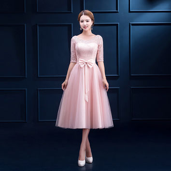 Bridesmaids dress 2017 medium-long pink slim  sisters  female short lace party Bridesmaid Dresses