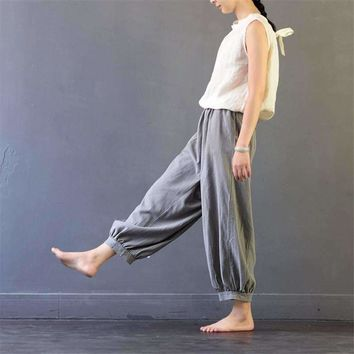 2018 New Summer Harem Pants Casual Vintage Linen Color Elastic Waist Calf-length Pant Loose Bloomers Trousers for Women S380