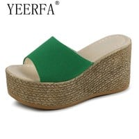 YEERFA summer women mules clogs wedge sandals garden shoes handmade artifical pearl slippers jelly color casual beach sandals