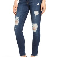 Good American Good Legs High Rise Ripped Skinny Jeans (Blue 003) (Extended Sizes) | Nordstrom