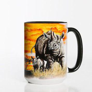 New BIG FACE RHINO 15 OZ CERAMIC COFFEE MUG   the mountain
