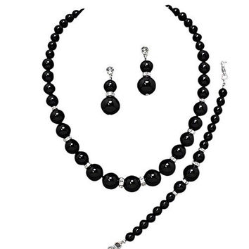 Oversize Statement Onyx Black Pearl Bridal Necklace Set Prom Earring Set Y2
