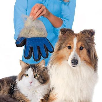 True Touch Pet Cleaning Massage Glove Dhedding hair Efficient Dogs Bath Brush Gentle Pet Grooming Comb Silicone Cat Supplies Dog