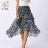 Chictorso High Waist Long Skirt Floral Printed Women Wrap Skirt Boho Beach Midi Skirt Womens Korean Style Bohemian Summer Skirts