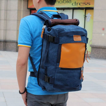 Blue Men's Outdoor Backpack Trekking Rucksack Daypack Hiking Bag