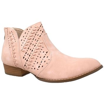 Womens Ankle Boots Western Block Heel Bootie Perforated Cutout Shoes Pink