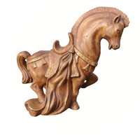 Vintage Trojan Horse Statue Roman Greek Mid-Century Decor in Brown