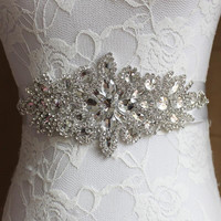 Crystal Wedding Accessories Satin Rhinestone Wedding Dress Belt