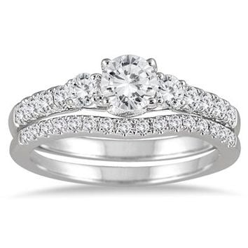 1 1/10 Carat Diamond Bridal Set in 14K White Gold