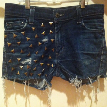 Pyramid Studded Distressed Levi's Cutoffs