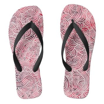 Flip flops - Red and white scrolls
