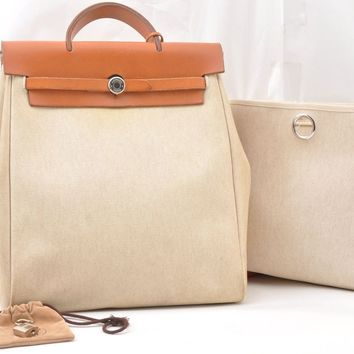 Auth HERMES Her Bag PM & MM 2Way Backpack Hand Bag Ivory 56583