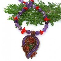 Paisley Flower Pendant Necklace, Purple Amethyst Red Coral Copper Handmade Boho Jewelry for Women
