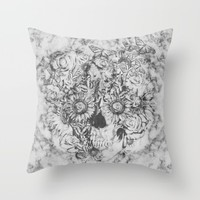 Bookmatched Skull Throw Pillow by Kristy Patterson Design